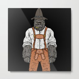 Bavarian Gorilla With Leather Pants Metal Print