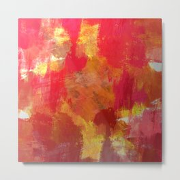 Fight Fire With Fire - Textured Metallic Abstract in red, white, black, orange and yellow Metal Print