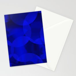 Abstract soap of ultramarine molecules and transparent bubbles on a deep blue background. Stationery Cards