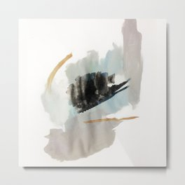 From a Distance - a minimal acrylic and ink abstract piece in blue, black, and tan Metal Print