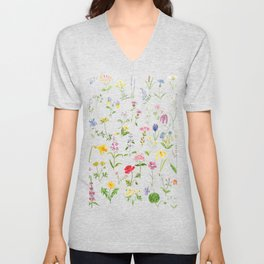 botanical colorful countryside wildflowers watercolor painting Unisex V-Neck