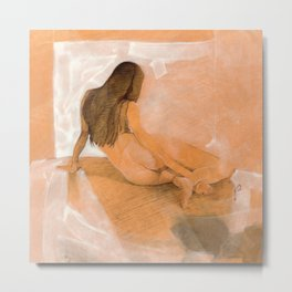 Female Nude Drawing in Orange and White Woman Lying on Side Back View Metal Print