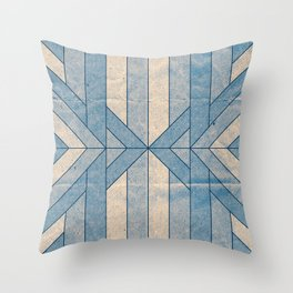 Old Paper Geometric Blue Throw Pillow