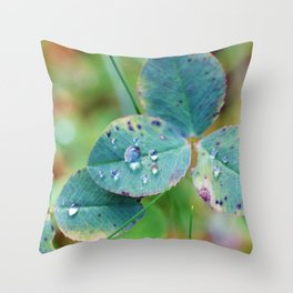 Clover leaves with rain drops Throw Pillow