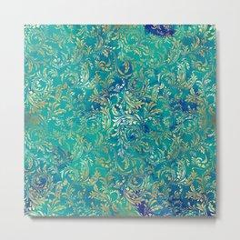 Blue Gold Swirls Metal Print