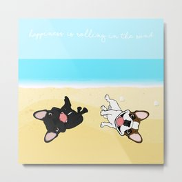 Frenchies Rolling In The Sand Metal Print