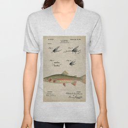 Vintage Rainbow Trout Fly Fishing Lure Patent Game Fish Identification Chart Unisex V-Neck