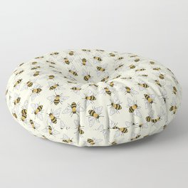 Busy Bees on buttermilk Pattern Floor Pillow