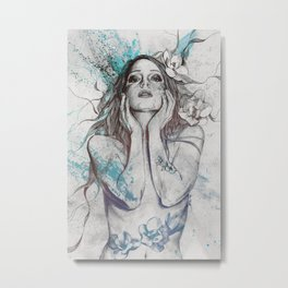 The Withering Spring I : Ice | nude tattoo woman portrait Metal Print