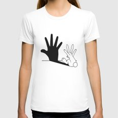 Rabbit Hand Shadow White LARGE Womens Fitted Tee