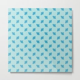 Vector cross embroidery blue stitches aligned on blue background, seamless pattern Metal Print