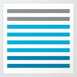 Stripes Gradient - Blue Art Print