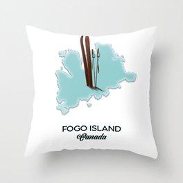 Fogo island Canada map Throw Pillow