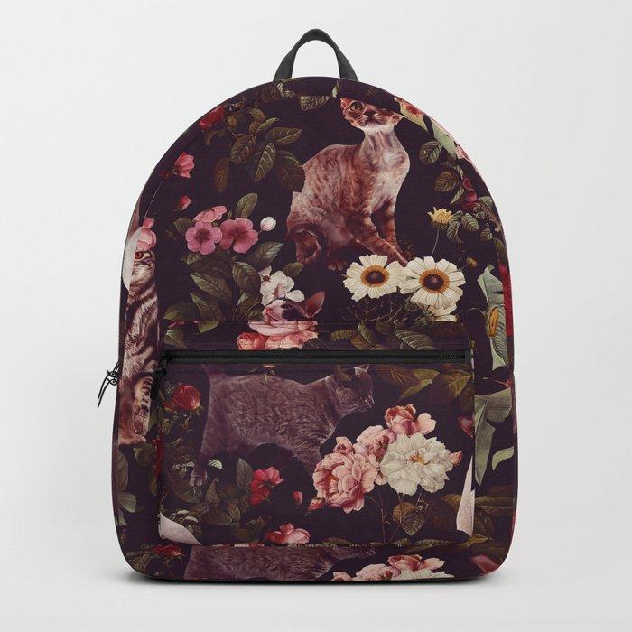 Cat and Floral Pattern Backpack