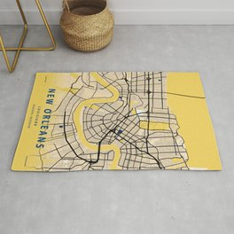 New Orleans Yellow City Map Rug