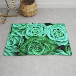 Sea Green Roses Rug