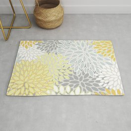 Floral Prints, Soft, Yellow and Gray, Modern Print Art Rug