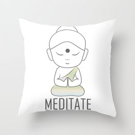 Gautama buddha sitting in lotus position with a message to Meditate Throw Pillow