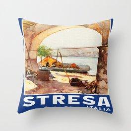 Vintage Stresa Italy Travel Throw Pillow