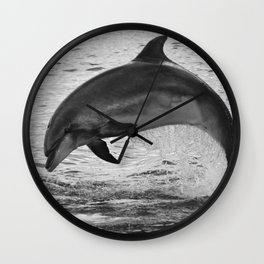 Jumping wild bottlenose dolphin black and white Wall Clock