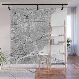 Detroit White Map Wall Mural