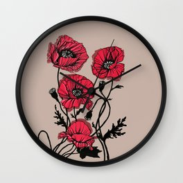 Brilliant Red Poppies Wall Clock