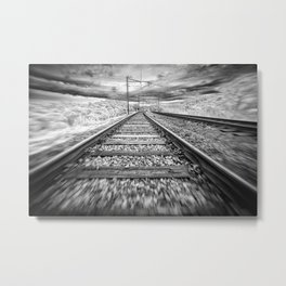Moving Train Track Black and White Metal Print