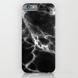 Smoky Suede Black Marble With Ivory White Veins iPhone Case