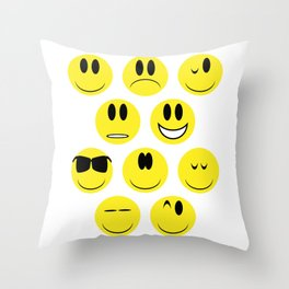 Yellow Face Emotions Throw Pillow