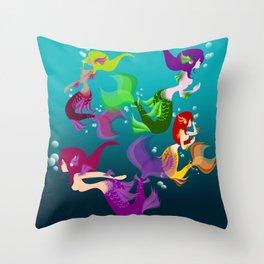 Festive Mermaids Throw Pillow