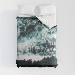 Oceanholic, Sea Waves Dark Photography, Nature Ocean Landscape Travel Eclectic Graphic Design Comforters