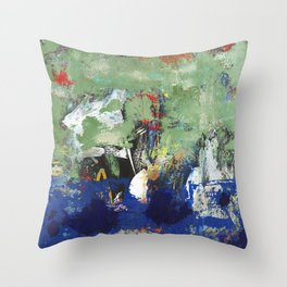 Finback Abstract Blue Green Throw Pillow