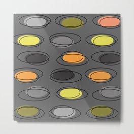 Mid Century Modern Ovals Scribbles Slate Gray Metal Print