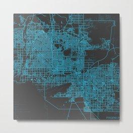 Phoenix map blue Metal Print