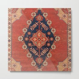 Southwest Tuscan Shapes I // 18th Century Aged Dark Blue Redish Yellow Colorful Ornate Rug Pattern Metal Print