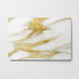 Marble - Gold Marble on White Pattern Metal Print