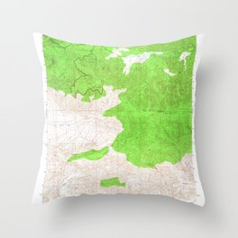 Sawmill Mountain, CA from 1943 Vintage Map - High Quality Throw Pillow