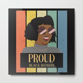 Proud Black Woman retro style Metal Print