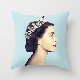 QUEEN ELIZABETH II - THE YOUNG QUEEN IN PROFILE Throw Pillow