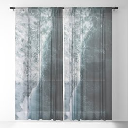 Oceanscape - White and Blue Sheer Curtain