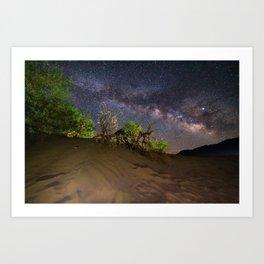 Milky Way over Death Valley Sand Dunes Art Print