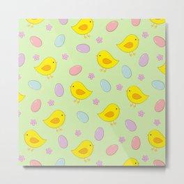 Easter pattern on green Metal Print