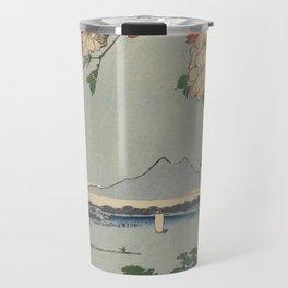 Cherry Blossoms on Spring River Ukiyo-e Japanese Art Travel Mug
