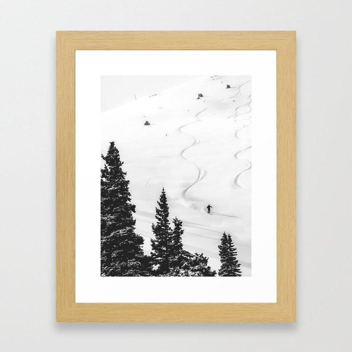 Backcountry Skier // Fresh Powder Snow Mountain Ski Landscape Black and White Photography Vibes Gerahmter Kunstdruck
