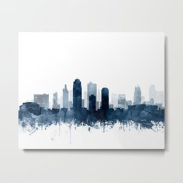 Kansas City Skyline Blue Watercolor by Zouzounio Art Metal Print