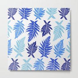 Inked Ferns – Blue Palette Metal Print