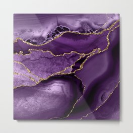 Glamour Purple Bohemian Watercolor Marble With Glitter Veins Metal Print