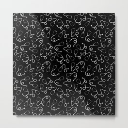 Stethoscopes - White on Black Metal Print