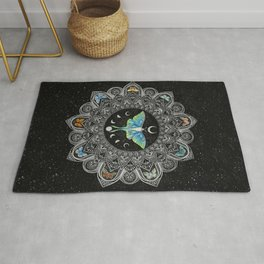 Lunar Moth Mandala with Background Rug