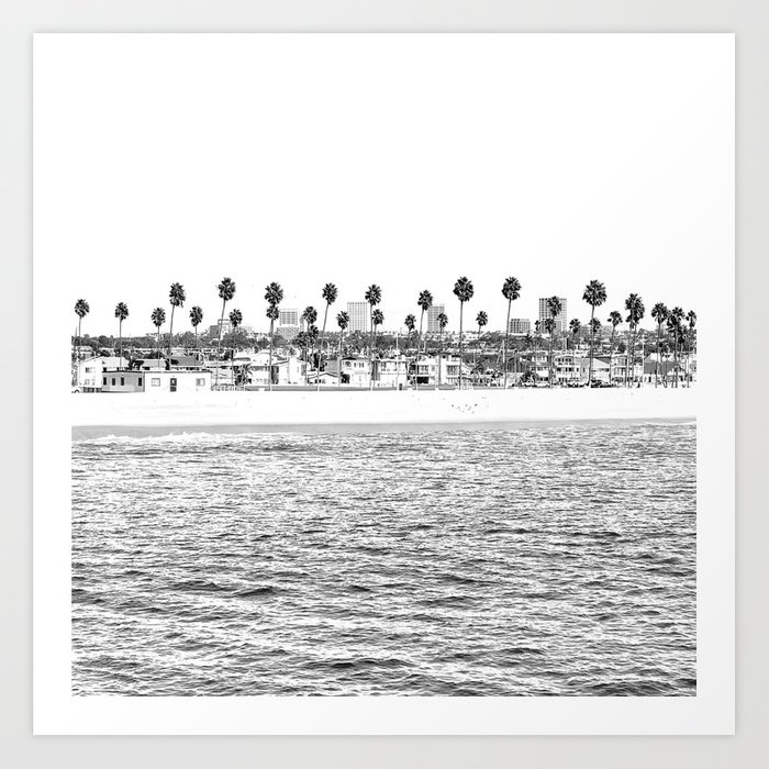 Vintage Newport Beach Print {4 of 4} | Photography Ocean Palm Trees B&W Tropical Summer Sky Kunstdrucke
